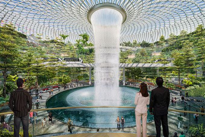 Tổ hợp khu vui chơi giải trí Jewel gồm10 tầng, bao gồm 5 tầng nổi và 5 tầng ngầm, được trang trí bằng những vườn cây, 280 cửa hàng bán lẻ,ăn uống, dịch vụ khách sạn với 130 buồng ngủ. Điểm nổi bật nhất của tổ hợp này chính là thác nước Rain Vortex, cao gần 40 m và là thác nước trong nhà cao nhất thế giới.