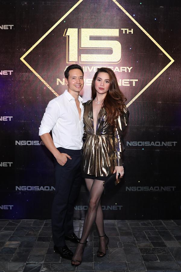 Kim Lý - Hồ Ngọc Hà sánh đôi dự sinh nhật báo Ngôi Sao tại TP HCM tối 19/4.