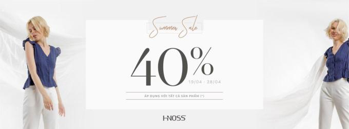 Chương trình Summer Sale từ ngày 19.04.2019 đến 28.04.2019 của thương hiệu thời trang HNOSS với một mức giá sale duy nhất là 40% cho tất cả sản phẩm.  Chương trình áp dụng tại 29 cửa hàng trên toàn quốc và hệ thống Online.  Click để mua ngay: http://bit.ly/HNOSSSummerSale19