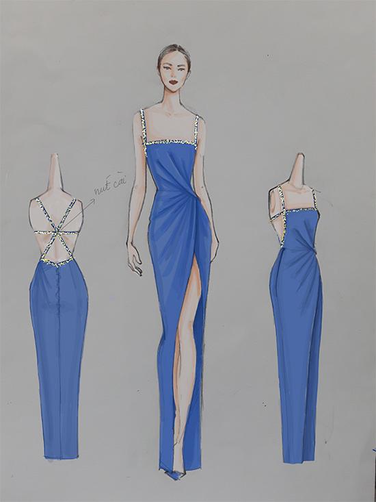 Ngọc Trinh đã nhờ nhà thiết kế Lê Thanh Hoà biến ý tưởng của mình thành hiện thực. Váy xẻ cao thiết kế trên tông màu chủ đạo của logo báo ngoisao.net. Đồng thời phần dây đan trên váy được đính kết