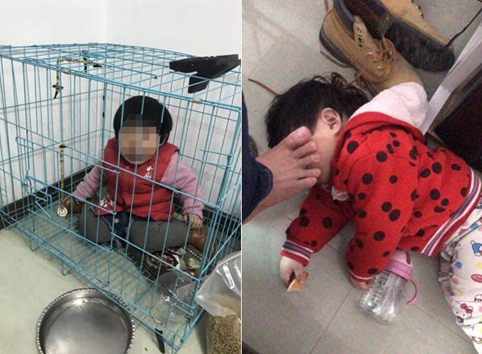 Những bức ảnh cô bé bị bố bạo hành khiến nhiều người dùng mạng phẫn nộ. Ảnh: AsiaWire.