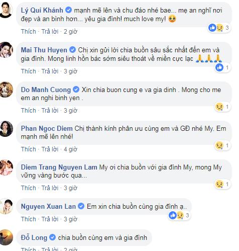 Các nghệ sĩ chia sẻ nỗi mất mát với Diễm My trên mạng xã hội.