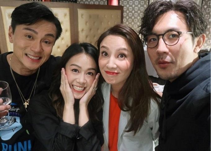 Huỳnh Hạo Nhiên, Hoàng Tâm Dĩnh, Trịnh Hy Di và Đàm Tuấn Ngạn (từ trái qua) trên trường quay Bằng chứng thép 4.