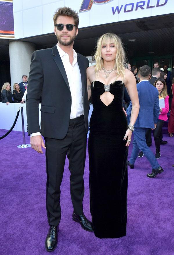 Miley Cyrus và Liam Hemsworth sánh đôi tại lễ ra mắt phim Avengers: Endgame tại Trung tâm Hội nghị Los Angeles.