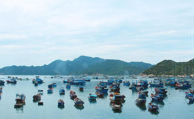 Du khách có thể di chuyển từ cảng Ba Ngòi ra đảo Bình Ba bằng tàu gỗ hoặc canô.
