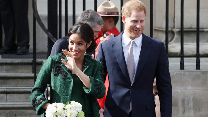 Vợ chồngMeghan khi tới thăm Canada House ở thủ đô London hôm 11/3. Ảnh: PA.