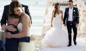Con trai cựu hoa hậu Anh khóc trong đám cưới của mẹ
