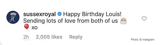 Bình luận chúc mừng sinh nhật Louis của vợ chồng Công tước xứ Sussex. Ảnh: Instagram.