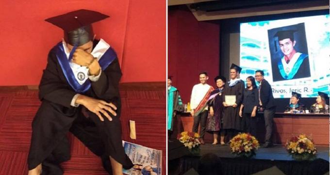 Nam sinh Rivas bật khóc trong ngày lễ nhận bằng cử nhân của ĐH La Concepcion, Philippines hồi đầu tháng 4. Ảnh: Facebook.