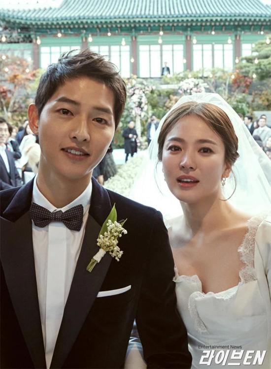 Vợ chồng Song Song trong ngày cưới.