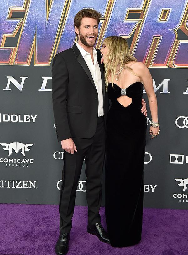 Miley và Liam Hemsworth tại lễ ra mắt phim Avengers: Endgame ngày 22/4.