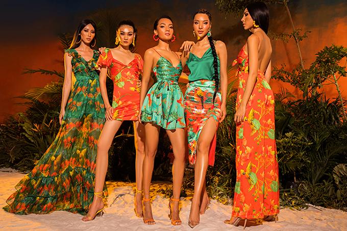 Đi đôi với gam màu và hoạ tiết hợp mốt mùa hè, nhà thiết kế còn thể hiện sự đa dạng về phom dáng ở bộ sưu tập này.
