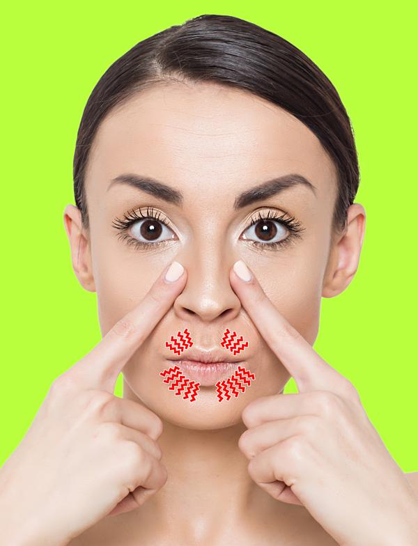 Chu miệng nhẹ, dùng hai ngón trỏ ấn lên vùng dọc sống mũi 20 lần.
