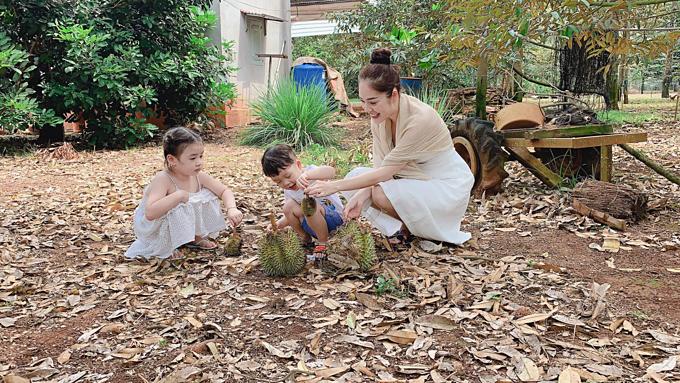 Dương Cẩm Lynh đưa con trai về nhà bà ngoại: Sau một ngày đi vườn sầu riêng của bà ngoạilà thu hoạch được kha khá sầu riêng.Rồi về nhà được bà Bảy đổ bánh xèo cho cả nhà ăn thiệt đã luôn.
