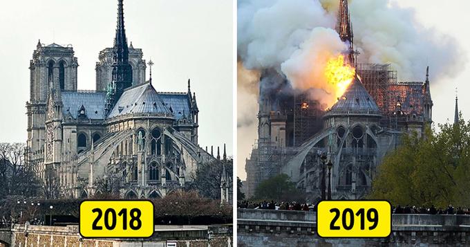 1. Nhà thờ Đức Bà Paris, Paris, Pháp   Vụ hỏa hoạn tại nhà thờ Đức Bà Paris đã gây chấn động cả thế giới và gần như trở thành thảm kịch cá nhân đối với mỗi công dân Pháp. Một kiệt tác của kiến trúc gothic Pháp đã phải chịu một trận hỏa hoạn lớn vào ngày 15 tháng 4 năm 2019. Theo các nhà điều tra của cảnh sát, vụ cháy bắt đầu ở trung tâm của mái nhà thờ. Nguyên nhân của thảm kịch vẫn đang được điều tra. Một trong những giả thuyết cho rằng đám cháy có thể được kết nối với công trình xây dựng đang diễn ra tại nhà thờ vào thời điểm xảy ra thảm họa.  Trải qua 8 thế kỷ lịch sử, Notre-Dame từng là một trung tâm tôn giáo, văn hóa và giáo dục cho Pháp và toàn thế giới và truyền cảm hứng cho các nghệ sĩ nổi bật nhất. Nó đã sống sót qua nhiều cuộc chiến tranh, xung đột chính trị và tôn giáo, và nó thật đáng buồn khi chúng ta không thể chăm sóc nó trong thế kỷ 21.