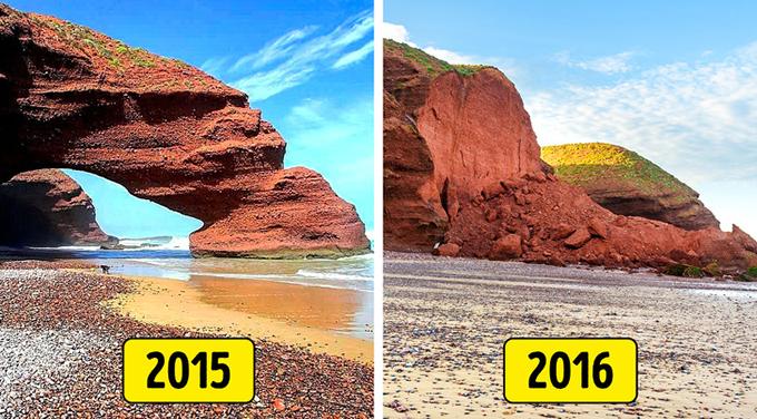 2. Bãi biển Legzira, Sidi Ifni, Morocco   Một cặp cổng vòm tuyệt đẹp trên Bãi biển Legzira đã trở thành một điểm mốc và là một trong những biểu tượng của Morocco, cho đến khi một trong số chúng sụp đổ vào tháng 9 năm 2016. Một đống gạch vụn trên bờ biển là thứ duy nhất còn lại của kỳ quan thiên nhiên thu hút Hàng ngàn khách du lịch đến bãi biển. Một số người đổ lỗi cho chính quyền địa phương về sự sụp đổ của vòm.  Vài tháng trước khi thảm kịch người ta nhận thấy các vết nứt và những tảng đá nhỏ rơi xuống từ vòm, vì vậy người ta dự đoán rằng nó sẽ sớm sụp đổ. Người dân địa phương tin rằng chính quyền có thể đã che chắn vòm để bảo vệ nó.