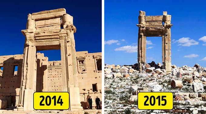 3. Đền thờ Bel, Palmyra, Syria  Ngôi đền chính của Palmyra đã bị phá hủy vào năm 2015 trong cuộc chiến ở Syria. Đây là một trong những công trình tôn giáo quan trọng nhất từ thế kỷ 1 sau Công nguyên và thế giới cổ đại nói chung. Cái còn lại của nó bây giờ là một cặp cột đứng giữa đống đổ nát.  Thành phố Palmyra, Di sản Thế giới của UNESCO, bao gồm những tàn tích hoành tráng của thành phố cổ, nghệ thuật và kiến trúc có từ thế kỷ 1 và 2, và sự tích hợp các kỹ thuật Greco-Roman với truyền thống địa phương. Nó cũng có hơn 1.000 cột, một cống dẫn nước La Mã và một nghĩa địa với hơn 500 ngôi mộ. Thật không may, nhiều kho báu của thành phố cổ này đã phải chịu đựng trong cuộc xung đột ở Syria.