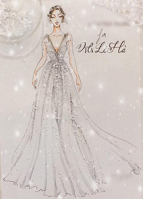 Một thiết kế khác mà Lê Hà diện là váy chữ A được sáng tạo trên nềnvải ren pha lê nhập khẩu và vải lưới Hàn Quốc.