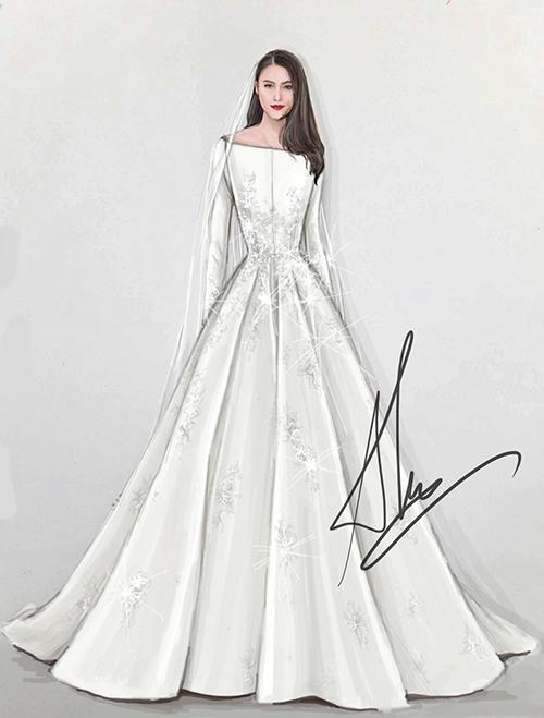 Bên cạnh hai mẫu đầm đến từ NTK Linh Nga, Lê Hà còn diện một bộ váy cưới là sáng tạo củaNTK Lê Thanh Hòa trong ngày hạnh phúc. Ảnh: Lê Thanh Hòa