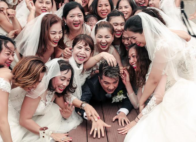 MV có cảnh ông hoàng nhạc Việt hốt hoảng chạy trốn dàn cô dâu và bị ngã khá hài hước.