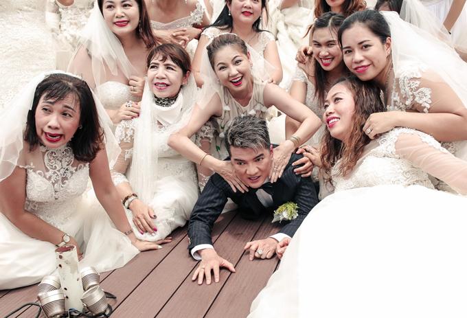 Mr Đàm bị 40 cô dâu đè bẹp khi quay MV mới - 4
