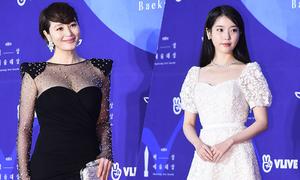 Kim Hye Soo gợi cảm, IU ngọt ngào trên thảm đỏ