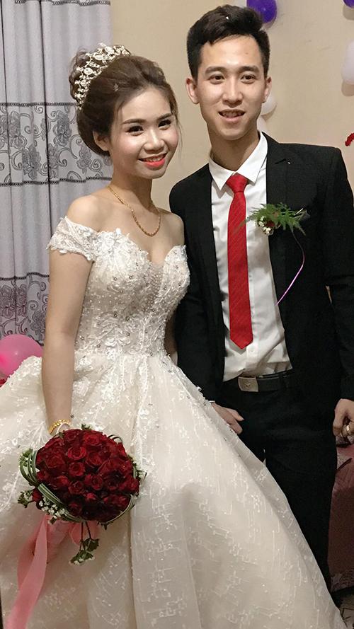 Chân dung cô dâu Huyền Trang và chú rể Đinh Văn Hiếu.