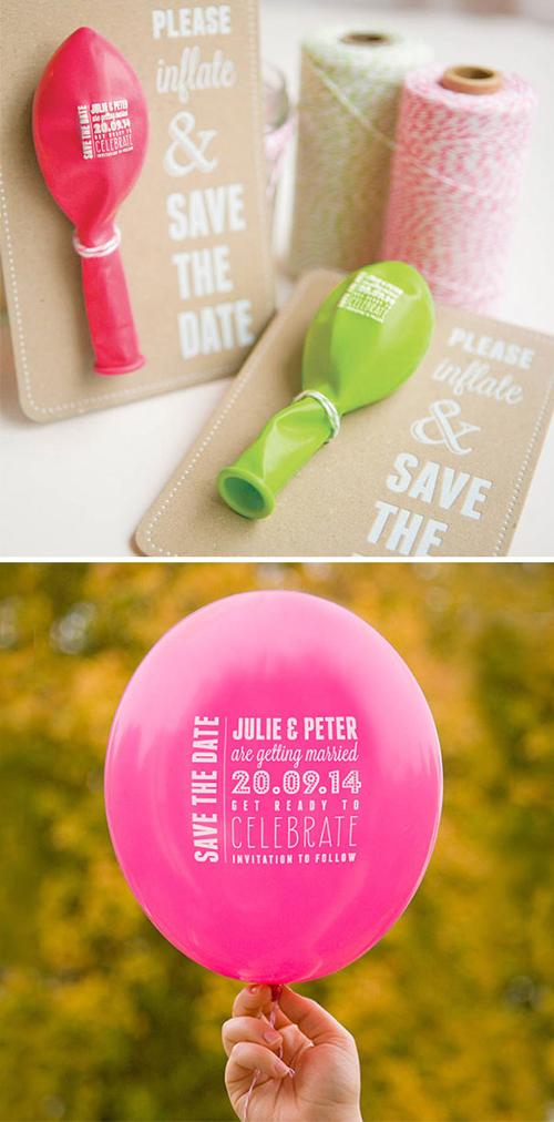 6. Thiệp cưới bóng bayTấm thiệp đòi hỏi khách mời thổi căng quả bóng để biết thông tin đám cưới. Đây không chỉ là lời thông báo mà còn là món quà ý nghĩa cho khách mời, đặc biệt là các khách mời nhí.