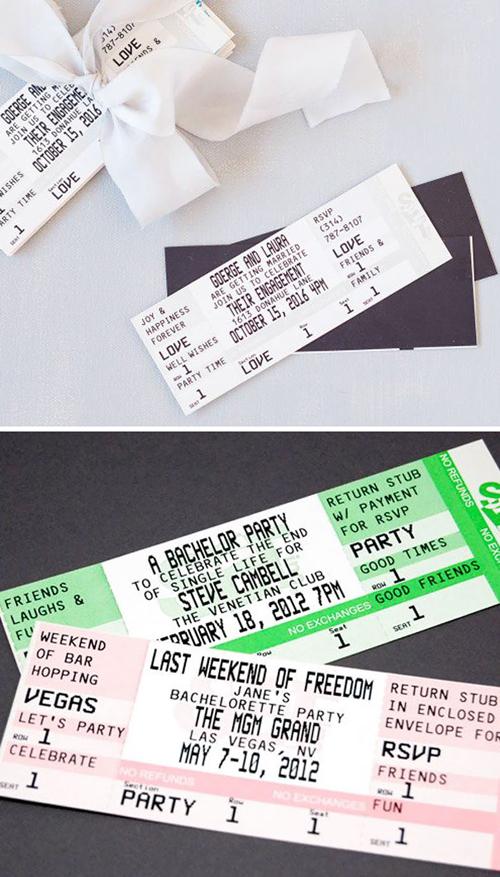 2. Thiệp cưới giống tấm vé xem phimThiết kế thiệp giống y một cuống vé phim khiến nhiều khách mời lầm tưởng được cô dâu, chú rể tặng... vé xem phim thật. Mọi thông tin chi tiết về đám cướiđều được ghi trên vé mời.