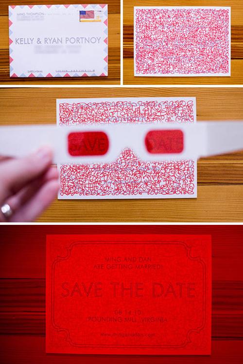 4. Thiệp cưới cần dùng đến kính 3D để xemTấm thiệp tưởng chừngnguệch ngoạc ẩn chứa đầy đủ thông tin về đám cưới nếu bạn nhìn nó qua kính 3D. Đây là một ý tưởng độc đáo dành cho uyên ương vốn là mọt phim.