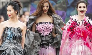 Dàn người đẹp trình diễn trang phục tái chế từ túi nilon