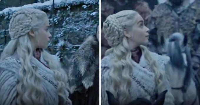 Kiểu tóc của Daenerys không đồng nhất dù trong một đại cảnh.