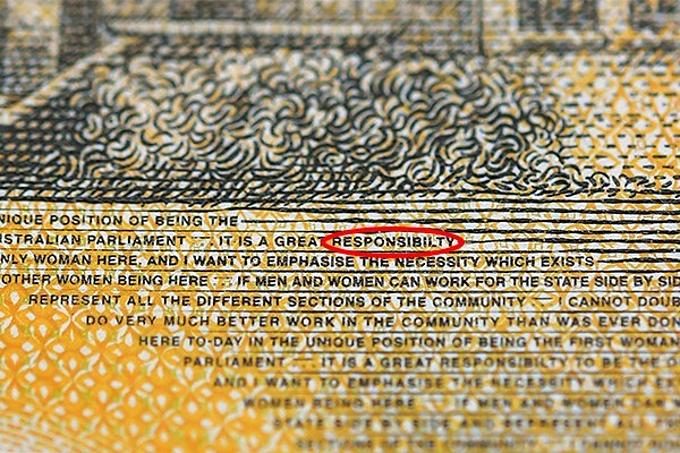 Lỗi chính tả trên giấy bạc 50 AUD mới. Ảnh:4BC.