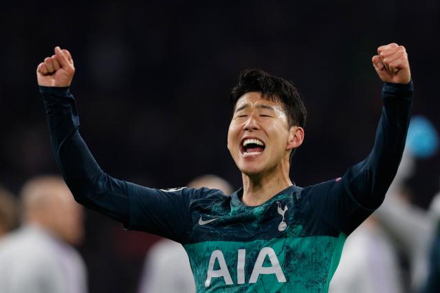 Niềm vui của Son khi vào chung kết Champions League. Ảnh: AFP.