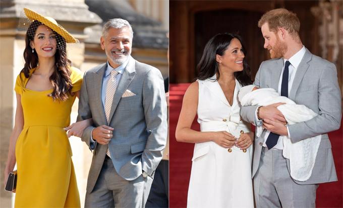 Vợ chồng George Clooney trong lễ cưới hoàng gia (ảnh trái) và vợ chồng Hoàng tử Harry khi giới thiệu con trai với công chúng.