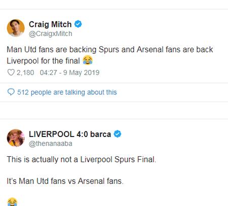 Fan của hai đội bóng đối địch MU và Arsenal tiếp tục chia đôi chiến tuyến khi cổ vũ chung kết Champions League vào ngày 1/6 tới. Ảnh: Sun.