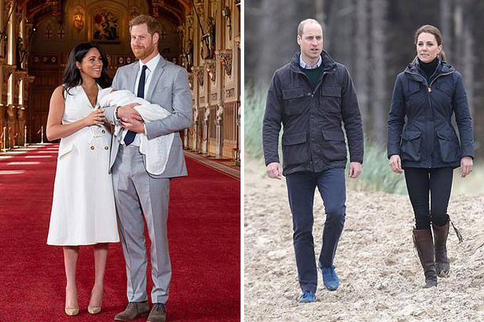 Trong khi vợ chồng Meghan - Harry bế con ra mắt thế giới hôm 8/5, vợ chồng Kate - William bận lịch trình làm việc ở Newborough Beach, xứ Wales. Ảnh: PA.
