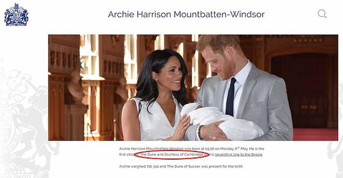 Con đầu lòng của vợ chồng Công tước xứ Sussex bị ghi nhầm là của vợ chồng Công tước xứ Cambridge trên trang web hoàng gia. Ảnh chụp màn hình.