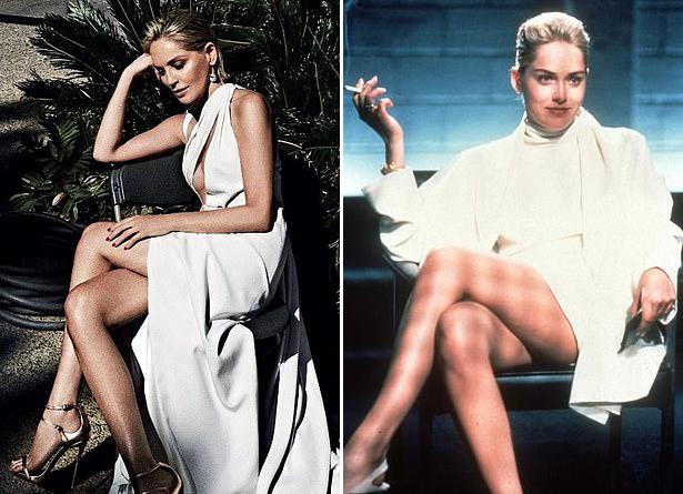 Sharon trên Vogue tháng 5 (ảnh trái) và hình ảnh của cô trong Basic Instinct 27 năm trước.