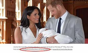 Hoàng gia Anh ghi nhầm em bé nhà Meghan là của Kate