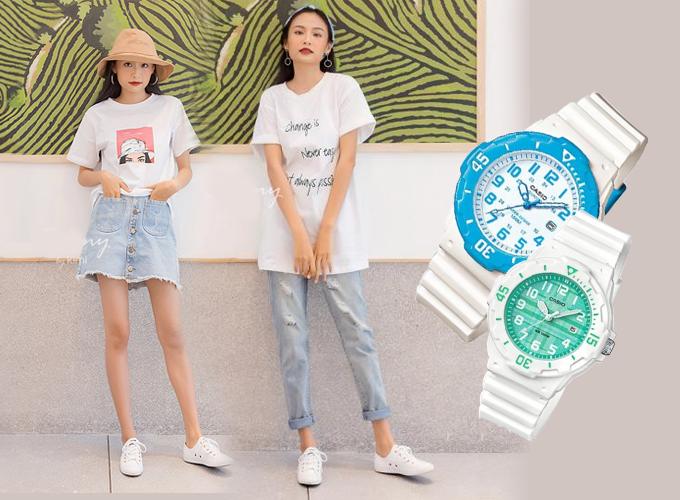 Đồng hồ kiểu dáng thể thao với phần dây nhựa màu trắng từ thương hiệu Casio phù hợp khi phối cùng áo thun năng động, cho vẻ ngoài cá tính.