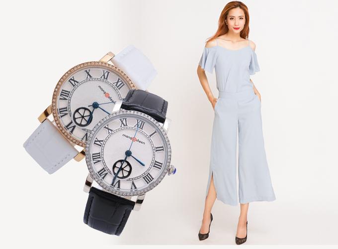 Set đồ gồm quần lửng ống rộng xẻ culottes Hity PAN017 (xanh morningsky) phối cùng đồng hồ nữ mangMangosteen Seoul Hàn Quốc dây da