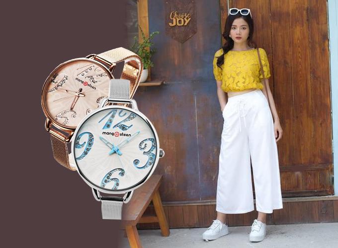 Mẫu đồng hồ nữMangosteen Seoul Hàn Quốc dây kim loại (2 màu)