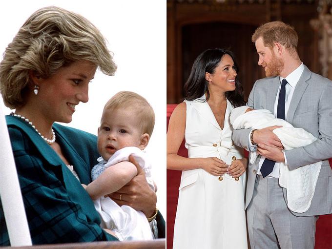 Diana bế Harry khi hoàng tử còn nhỏ (trái) và Harry bế con trai đầu lòng giới thiệu với thế giới hôm 8/5 ở lâu đài Windsor. Ảnh: UK Press.