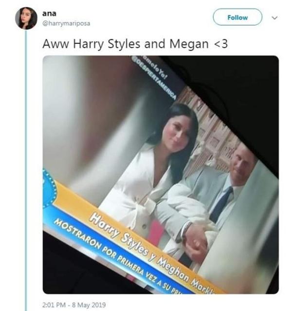 Một người dùng Twitter chụp lại hình ảnh hoàng tử Harry gắn với tên của Harry Styles trên sóng truyền hình Tây Ban Nha.