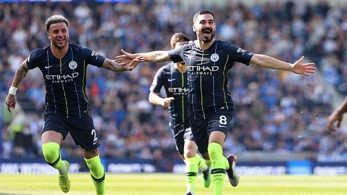 Niềm vui vô địch của cầu thủ Man City. Ảnh: EPL.