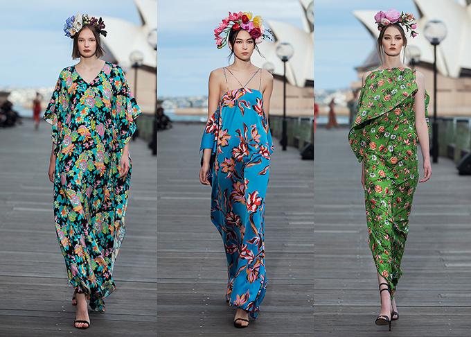 Bên cạnh những thiết kế trẻ trung có độ dài ngang gối, quá gối, Đỗ Mạnh Cường cũng giới thiệu một số mẫu váy rộng, dài ấn tượng bởi sự bố trí các sắc màu vô cùng thu hút.