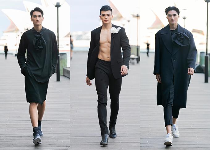 trang phục dành cho các chàng trai trở nên lạ mắt nhờ hoạ tiết hoa to bản đính cùng áo măng tô, áo vest hay sự kết hợp của váy và dáng áo sơ mi tròng cổ.