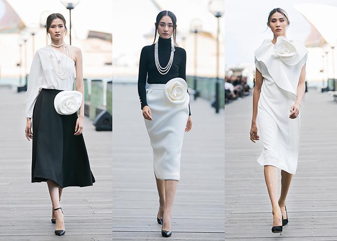 Nếu như sắc đen mang đến sự tối giản, có phần cá tính, sắc trắng làm mê người xem bởi sự ngọt ngào, thanh thoát thì tông xám dung hoà giữa hai sắc độ lại thể hiện được vẻ đẹp hiện đại, thời thượng khi đi cùng những phom váy 3D đòi hỏi kỹ thuật cắt may điêu luyện.
