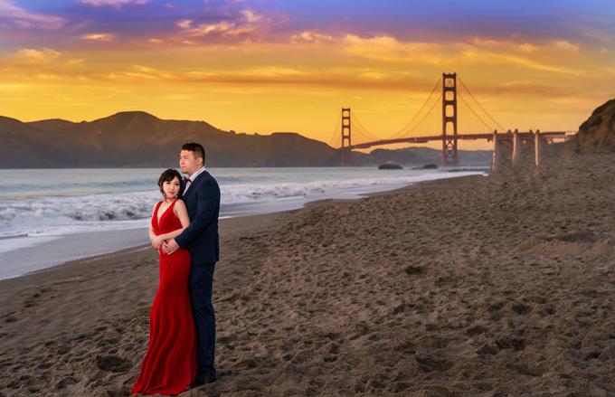 Cặp cô dâu chú rể trong bộ ảnh là Gianna Ha (26 tuổi, Việt kiều, y tá) và Jimmy Justice (28 tuổi, người Mỹ gốc Việt, kế toán). Vì yêu thích cảnh biển nên uyên ương đã chọn San Francisco để thực hiện ảnh pre wedding (tiền đám cưới) trong vòng 1 ngày.